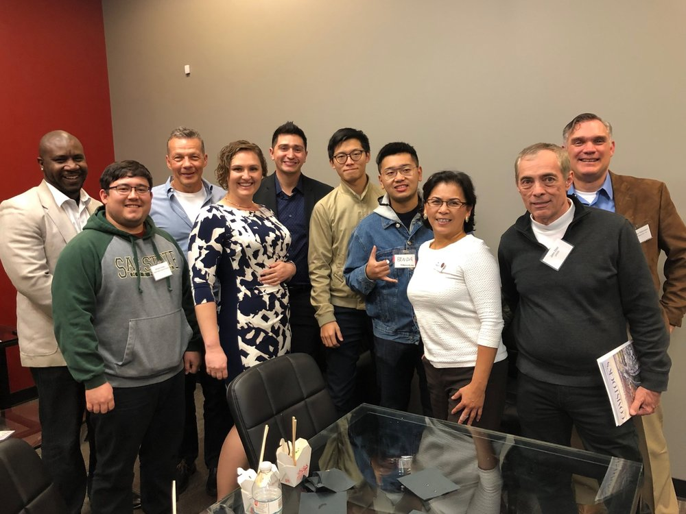 SEA Alumni Maurice Thomas, Michael Kohatsu, Christy Serrato, Jonathan Batchelor and Bob Porter (not pictured) mingled with 2019 Fellows Emily Butler, Tony Braham, Super Wang, Peter Zhu and other attendees at the January Entrepreneurs Unleashed event at HaneyBiz