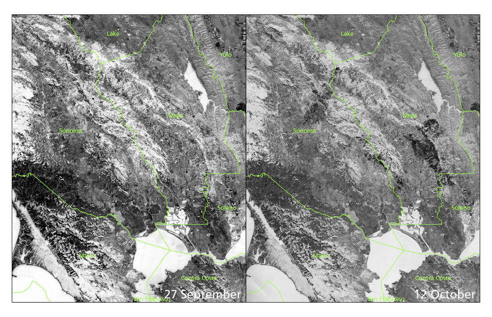 Pre- and post-burn NBR. Own work, contains modified  Copernicus  Sentinel data (2017)