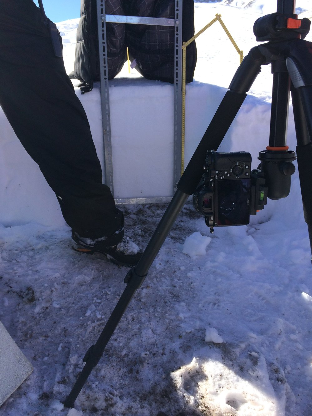 IR photo demonstration. Reflectance of snow in the near-infrared directly relates to snow density, so IR photos can be used to evaluate snowpack density variations with depth.