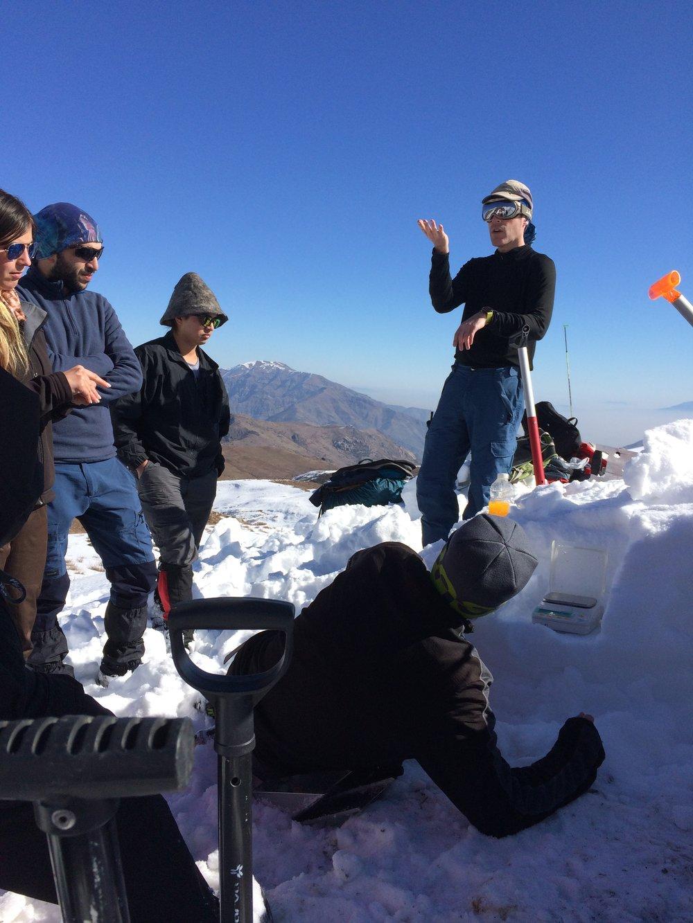 Prof. James McPhee, Universidad de Chile, explains density changes in the snowpack