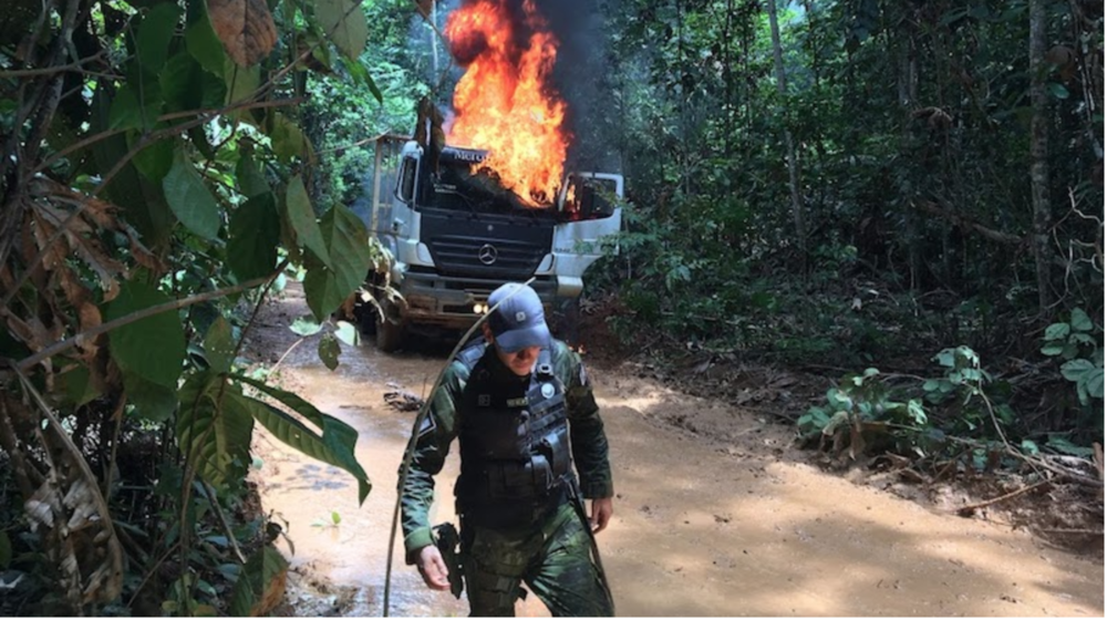 Federal environment agents destroy vehicles loaded with logs inside the Aripuanã Park Indigenous Territory, where logging is a crime. Jair Bolsonaro aims to cut the agency's funding (Photo: Fabiano Maisonnave