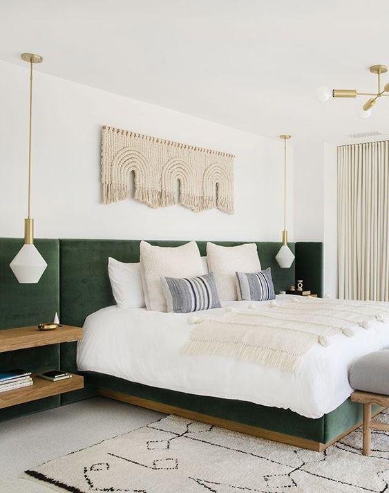 green-velvet-master-bed