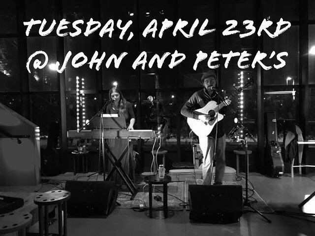 Tomorrow night at @johnandpeterslive with @kara_lia! 9pm-12midnight. Hope to catch you there.