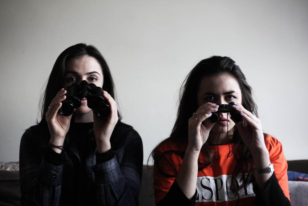 Alexandra Conlon (Caitlin) and Emily Fox (May)