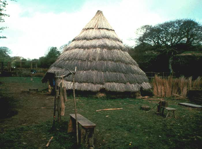 Iron Age roundhouse reconstruction near Chacewater, Cornwall. Image: Historic Environment Service.