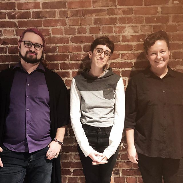 This is 3/4 of the @queeritco team. I can't describe how incredible it is to not be the only one; to have other people working on the same project; to have other people believe that this is possible. Queer and trans people deserve a voice, a chance. We deserve to thrive. Thank you for working towards the same goal with me, for being the absolute best collaborators, and for bringing your best selves to Queerit. 🙌🏼