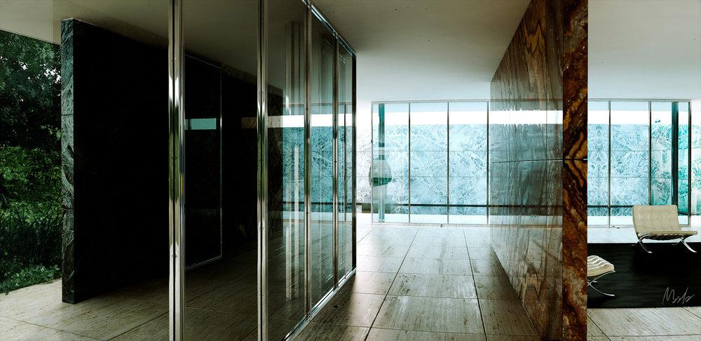 Barcelona Pavilion (Prodan, A. http://marlas.cgsociety.org/art/interior-maya-mies-rohe-mental-ray-pavillon-photoshop-van-der-barcelona-pavilion-686776)