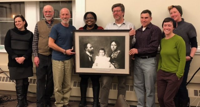 Co-chairs Randy Weinstein & Gwendolyn VanSant; Town Manager Jennifer Tabakin; Selectboard Members Bill Cooke, Ed Abrahams, & Dan Bailly; Advisors Sara Mugridge & Ari Cameron. Du Bois Family portrait donated by UMASS. Jan 8, 2018.