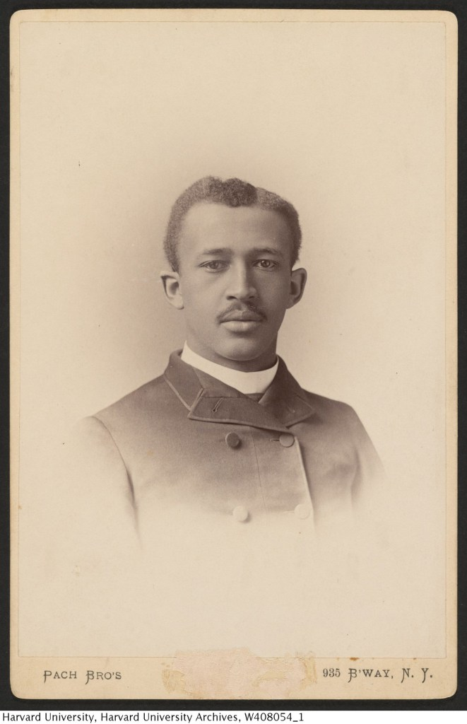 "Image 1: Cover page of Du Bois' Harvard dissertation "" The suppression of the African slave trade in the United States of America, 1638-1871."" Image 2: Du Bois' photograph from the Harvard College Class of 1890 Class Book.  Courtesy of Harvard University Archives; (2) Pach Bros., New York, New York, United States [photographer] ca. 1890"