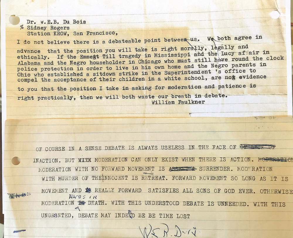 Correspondence between W.E.B. Du Bois and William Faulkner in 1956 sits in an exhibit at the Mason Library in Great Barrington, courtesy of the University of Massachusetts Amherst W.E.B. Du Bois Libraries.   HEATHER BELLOW - THE BERKSHIRE EAGLE