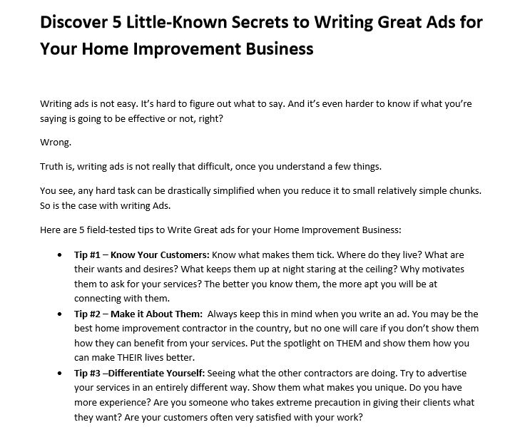 Article - Writing Great Ads for Home Improvement Businesses -