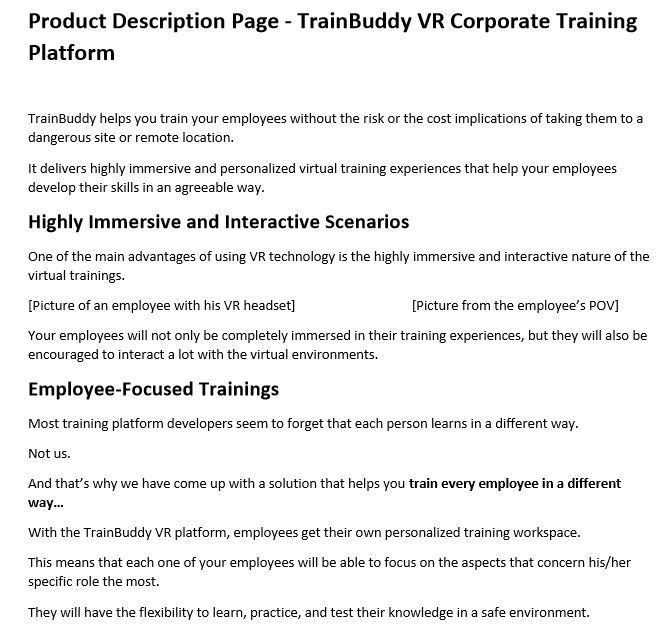 Product Description Page - VR Corporate Training -