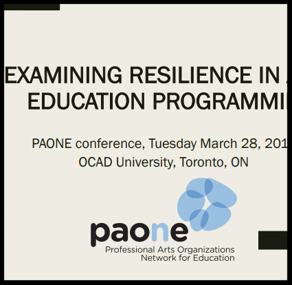 Examining Resilience in Arts Education Programming PDF: March 28, 2017 READ: On March 28, we held our first member-facilitated conference of 2017. Led by PAONE member Carrie Hage, we explored building resilience in youth through arts education programming. If you weren't able to join us or would like to revisit what we discussed, you can take a look at her presentation.