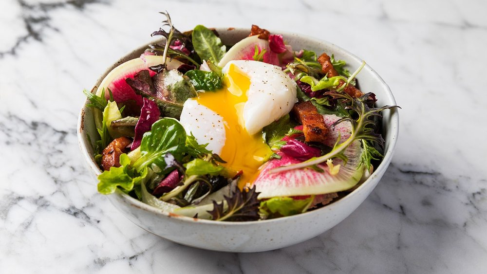 Sous-Vide Egg and Bacon Salad