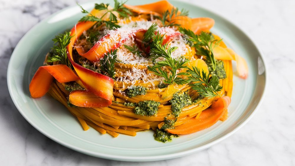 Carrot Linguine with Carrot Top Pesto