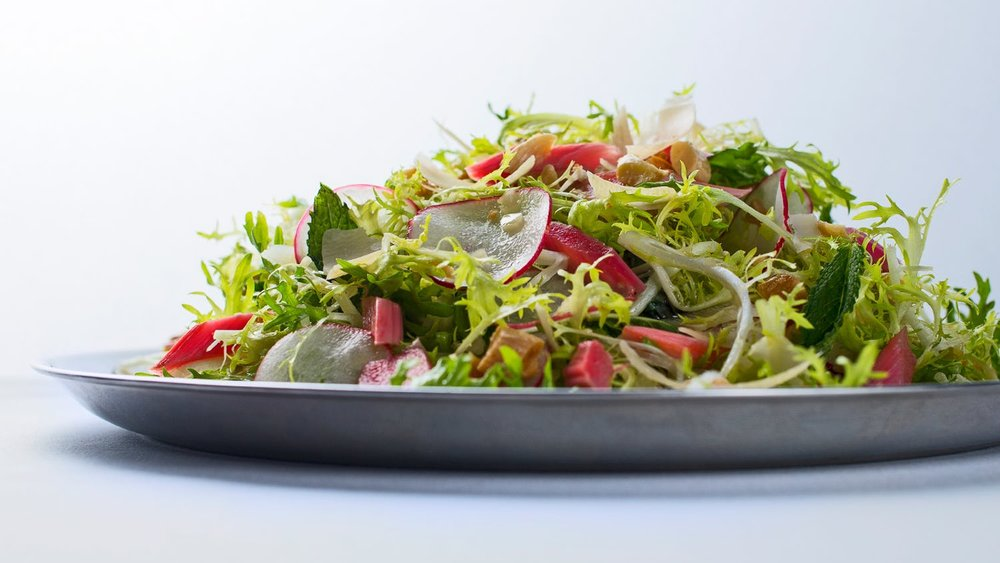 Frisée Salad with Pickled Rhubarb