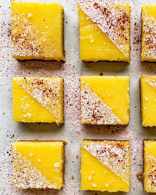 A Bar is Born! (Today on @thefeedfeed, I wax poetic about sumac, which takes these tart lemon bars to the next level; head over to watch me make them!) #feedfeed #lemon #lemonbars #dessert #baking #citrus #sumac #glutenfree #glutenfreebaking