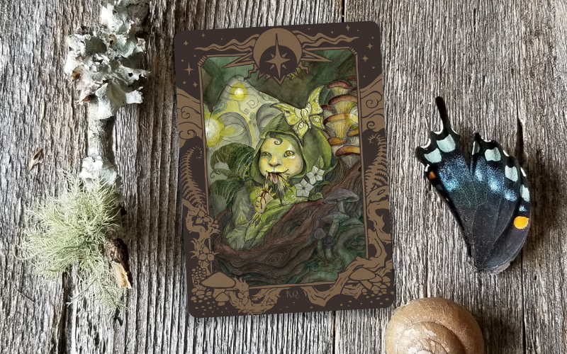 Olde Fae  Changeling card, this template is meant to bring together both the light and dark aspects of the two other suits in the deck.  I completed the illustration shown here.