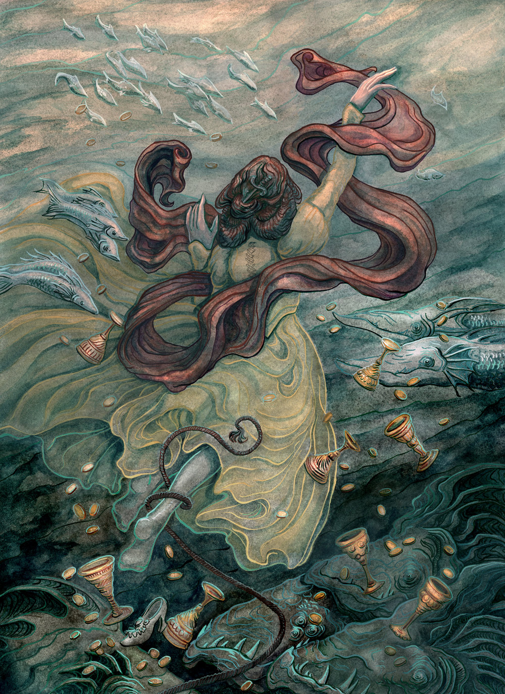 - AscendCreated for the 78 Tarot deck, ElementalPublisher: 78 Tarotwatercolor, ink, gouache