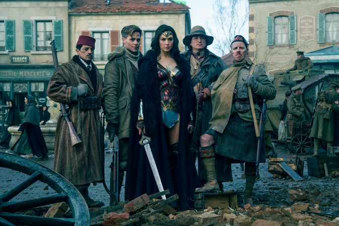"(L-R) Saïd Taghmaoui as Sameer, Chris Pine as Steve Trevor, Gal Gadot as Diana, Eugene Brave Rock as The Chief and Ewen Bremner as Charlie in the action adventure ""Wonder Woman."" (Clay Enos/TM & DC Comics)"