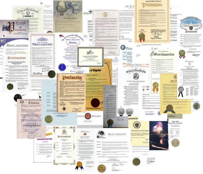 世界各國給法輪功創始人李洪志大師的各類 褒獎 。2007年「在世天才百強榜」排名中,法輪功創始人李洪志大師名列第12位,是當今全球影響力最大的華人。2009年李洪志大師榮獲「精神領袖獎」,並四次被提名諾貝爾和平獎。(明慧網)