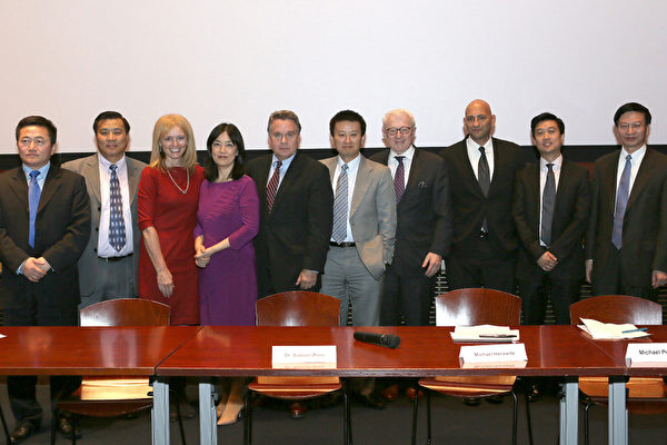Charles Lee, Dr.Katrina Lantos Swett,, President of the United States Commission on International Religious Freedom, USCIRF, Jennifer Zeng,Congressman Chris Smith (R-N.J.) , Michael Perlman, director of Free China, Kean Wong, producer of Free China, and others at the private screening of the film Free China: The Courage to Believe at the U.S. Capitol, Sep. 20. Rep. Smith is the Chairman of the Congressional-Executive China Commission (CECC), which sponsored the screening. (Lisa Fan/The Epoch Times)