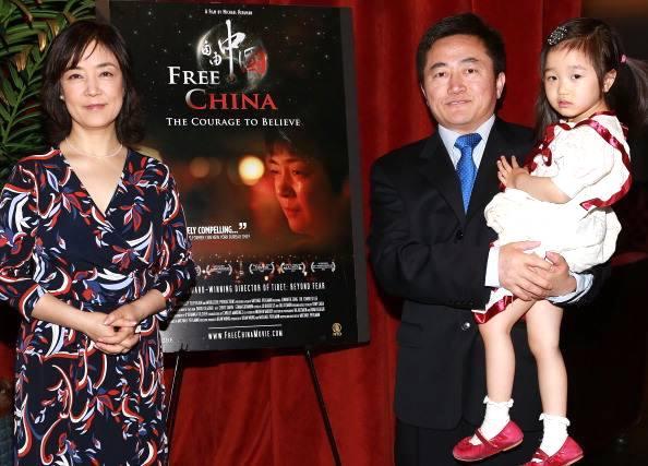 圖:曾錚與李祥春及李祥春之女,2013年6月4日,紐約《自由中國》電影院首映式。