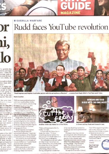 《悉尼晨鋒報》刊登文章評論互聯網在大選中的作用。上圖為奧得金惡搞工黨領袖的短片畫面,下左圖為一個惡搞何華德的短片截圖,下右圖為工黨製作的「何華德在全球變暖問題上睡覺」的短片截圖。