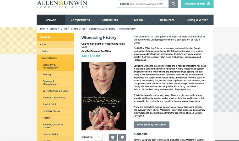 Jennifer's book on Allen & Unwin's website at:  https://www.allenandunwin.com/browse/books/general-books/biography-autobiography/Witnessing-History-Jennifer-Zeng-translated-by-Sue-Wiles-9781741144000