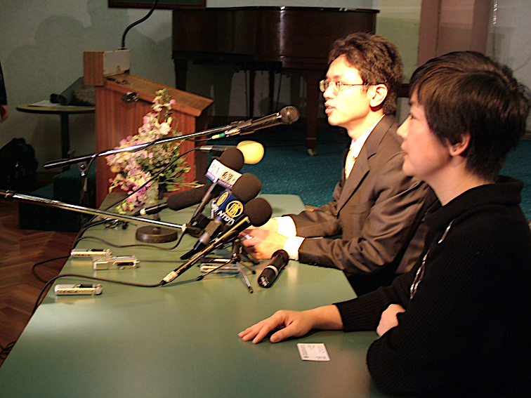 """Yonglin Chen and Jennifer Zeng at a forum in Sydney on July 11, 2005, in which Yonglin Chen gives a detailed outline about the CCP's strategy to """"silently invade"""" Australia and other countries via economical, diplomatic and cultural channels. Chinese language report available at: https://www.renminbao.com/rmb/articles/2005/7/11/36784.html"""