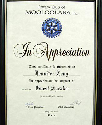 Rotary 俱樂部為曾錚頒發演講紀念證書