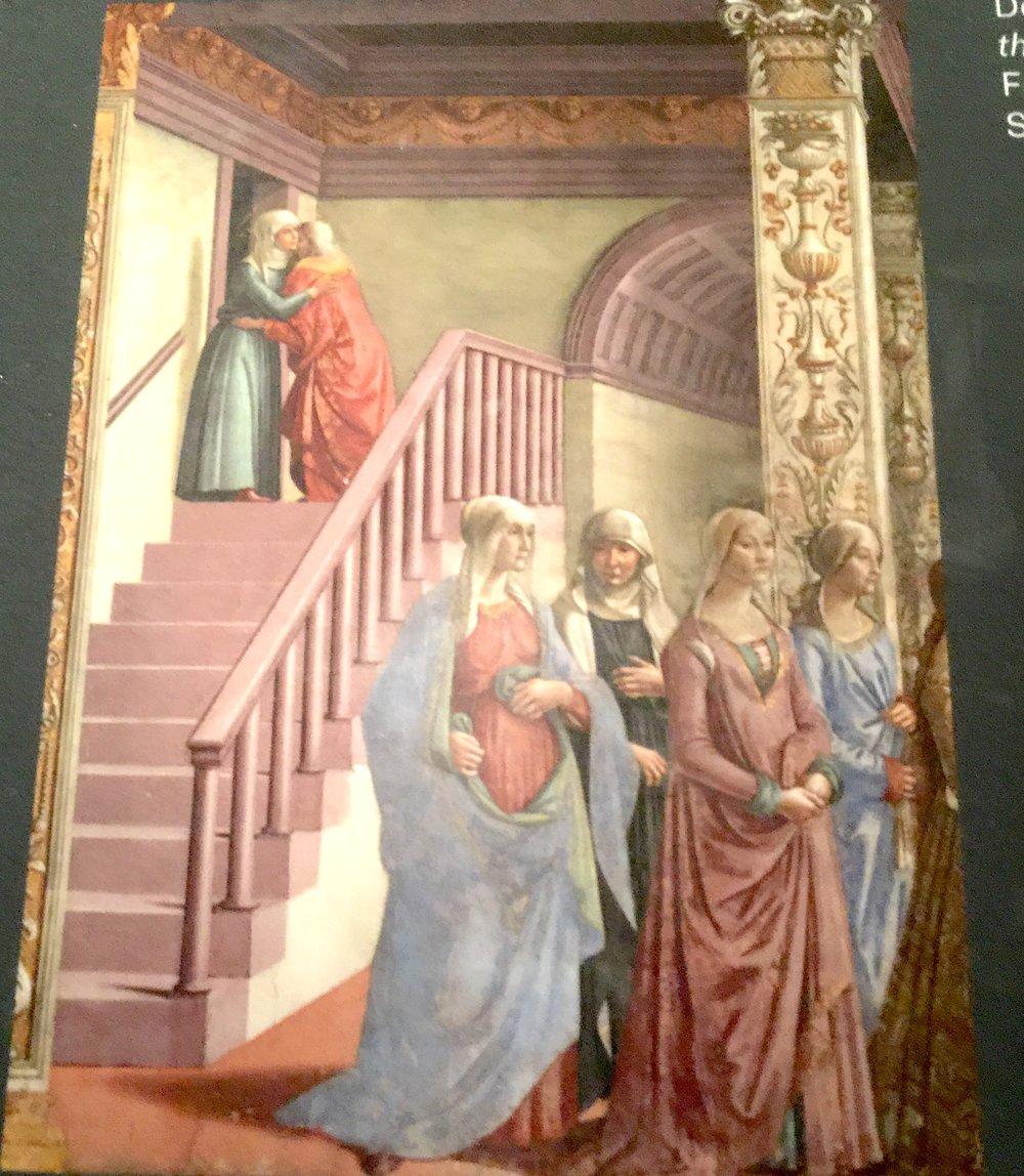 Domenico Ghirlandaio, Birth of the Virgin(detail), ca. 1485-90. Fresco Tornabuoni Chapel, Santa Maria Novella, Florence   「聖母誕生」(局部), 1485-90,佛羅倫斯, 新聖母瑪麗亞大教 堂。