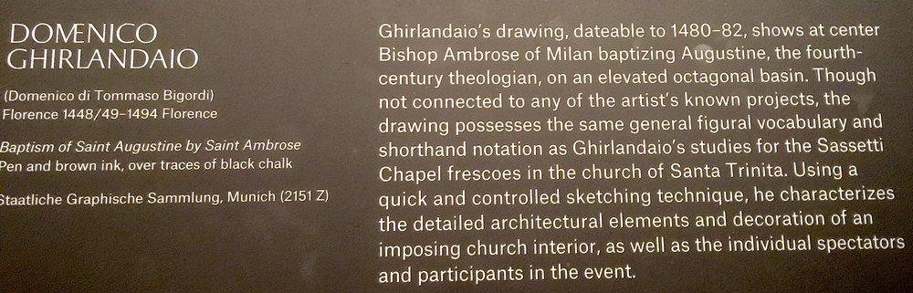 此手稿爲 多米尼哥·基蘭達奧 (Domenico Ghirlandaio)(1448/49-1494)作品,表現 希波的奥古斯丁 受洗的場景,作於1480-82。米開郞基羅是 多米尼哥·基蘭達奧 畫室衆多學徒之一。