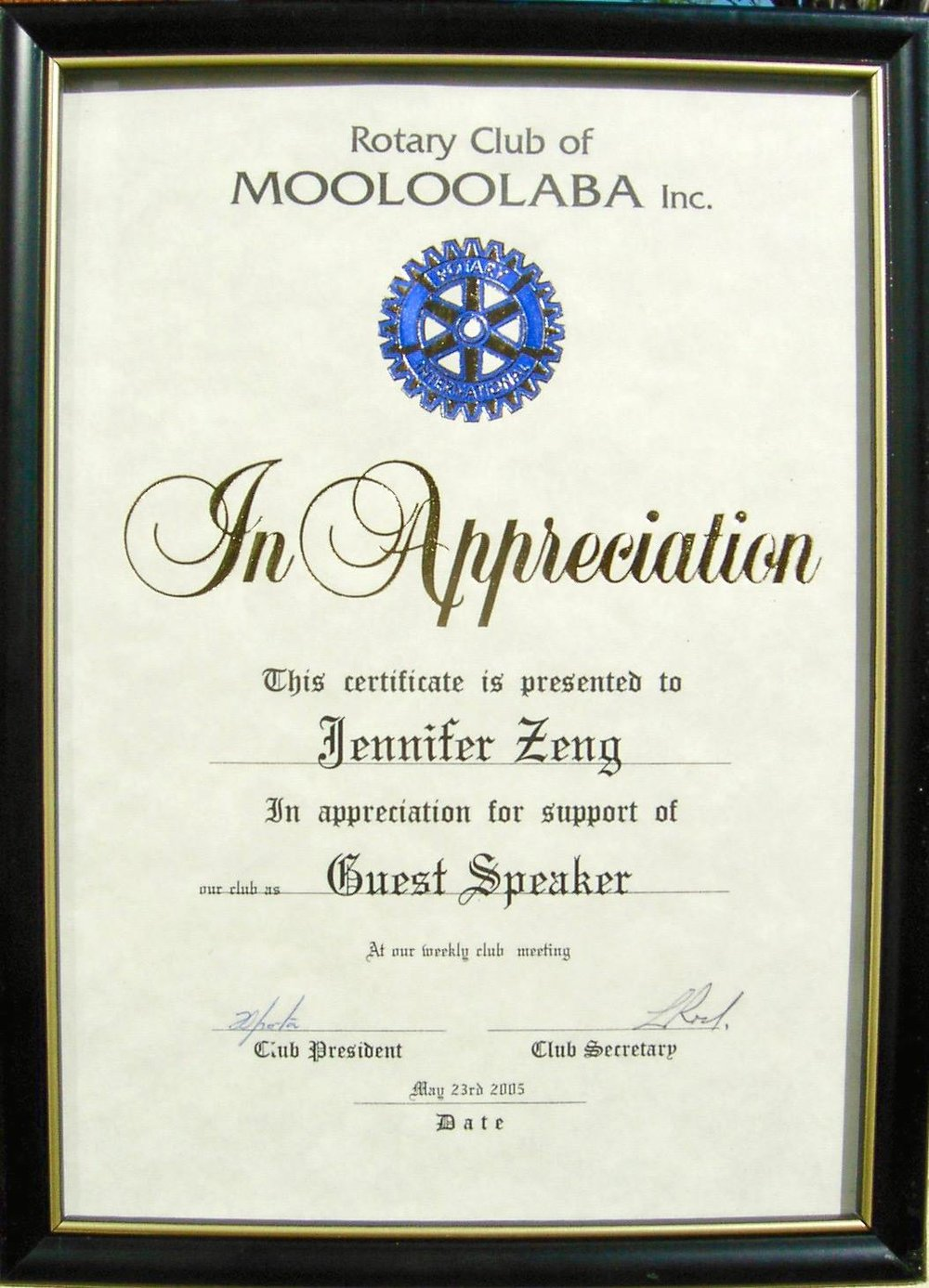 Appreciation Certificate from  Mooloolaba Rotary