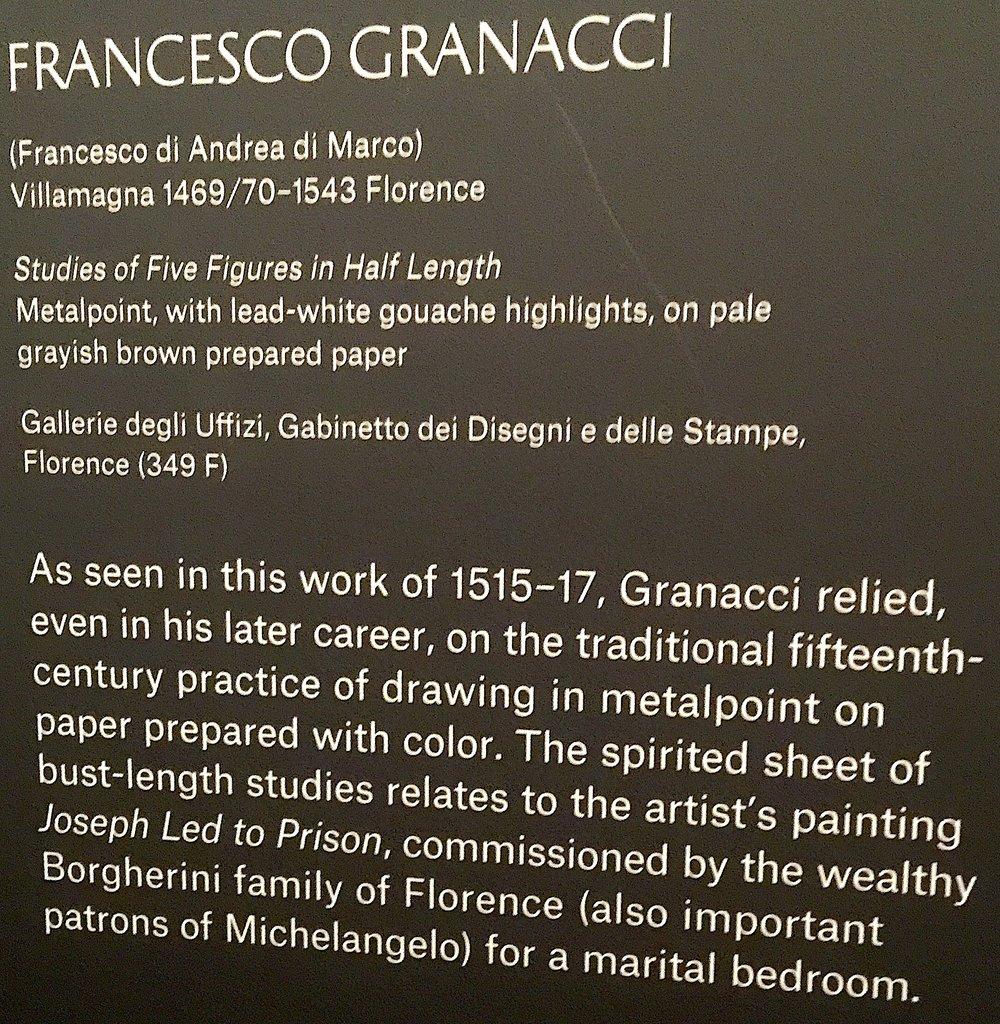 格拉納齊(Francesco Granacci)爲其《約瑟下監》所繪草圖手稿。作於1515-17。