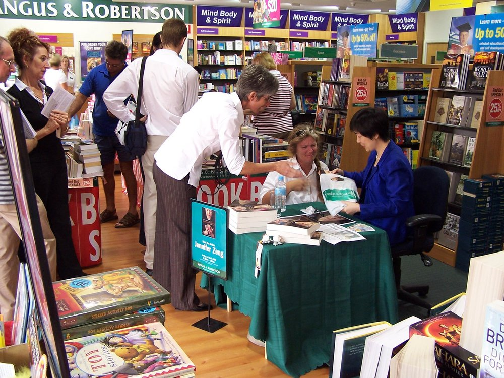 Jennifer at a book-signing event at an  Angus & Robertson  book store in Brisbane, Queensland Australia in 2005.
