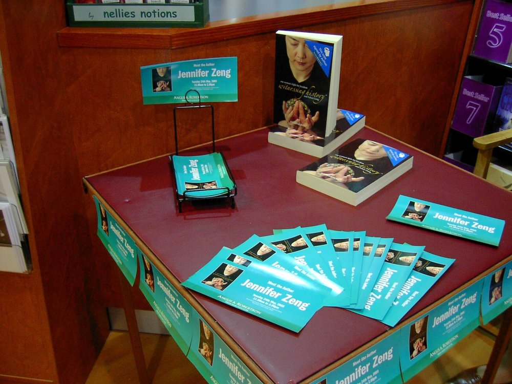 Display of Jennifer's book and book-signing event invitations at a bookstore in Brisbane, QLD, Australia, in 2005.