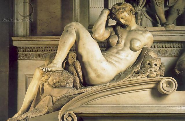 Night (Notte) by Michelangelo (a  Wikigallery public domain photo ) 米開郞基羅雕像《夜》,圖片來自公共領域。