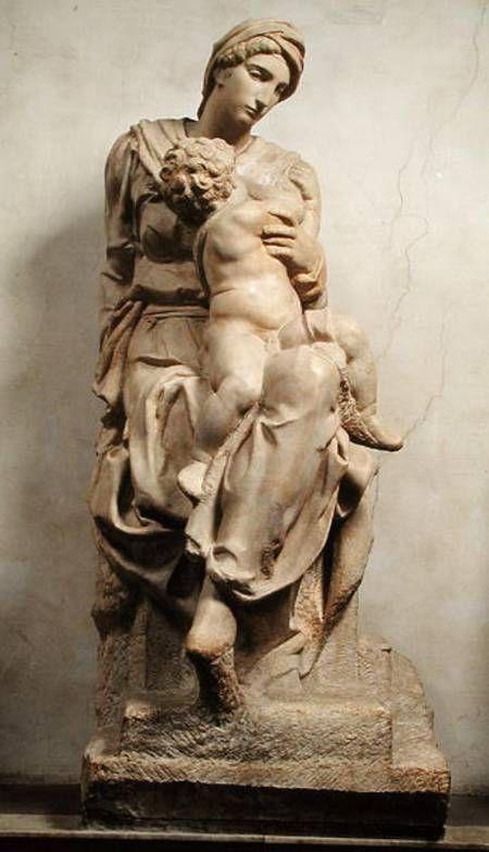 Michelangelo, Virgin and Child(Medici Madonna). Marble. New Sacristy, church of San Lorenzo, Florence 米開郞基羅大理石雕像「聖母聖嬰」。佛羅倫斯聖洛倫佐教堂(San Lorenzo)新聖器室(New Sacristy)。