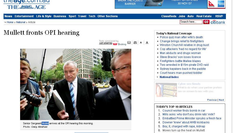 墨爾本《時代》網站上關於洩密案的報導