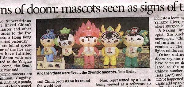 《悉尼晨鋒報》文章「厄運的代號:福娃被視作時運的信號(Token of doom: mascots seen as signs of times)」