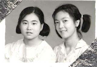 Rong and I in junior middle school 我與蓉初中時的合影
