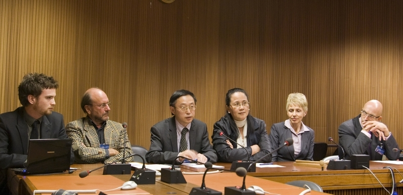 Panel discussion after  Free China: The Courage to Believe  film screening at the UN Human Rights Council meeting in Geneva, on September 19, 2012.