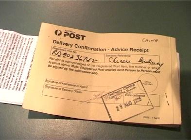 傳票送達郵局回執,上有收件人簽名