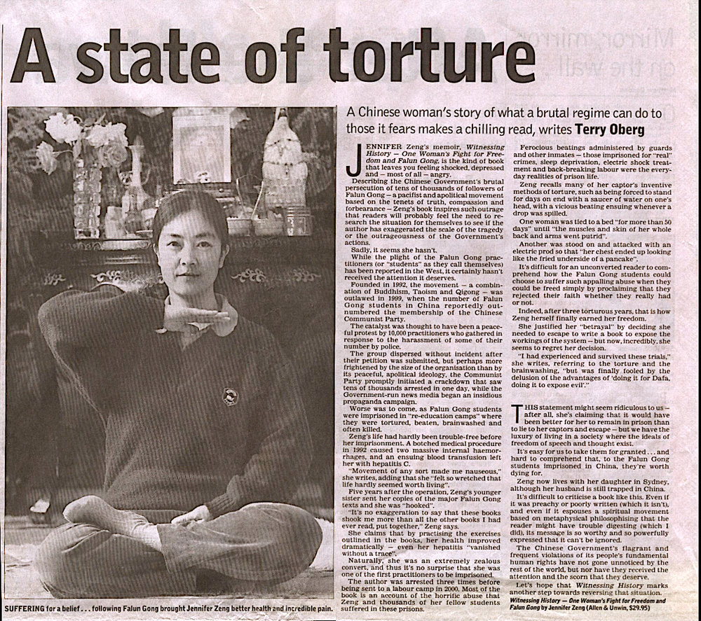 "A review of Jennifer's memoir by the ""Australian"" newspaper. photo caption: Suffering for a belief…following Falun Gong brought Jennifer Zeng better health and incredible pain."