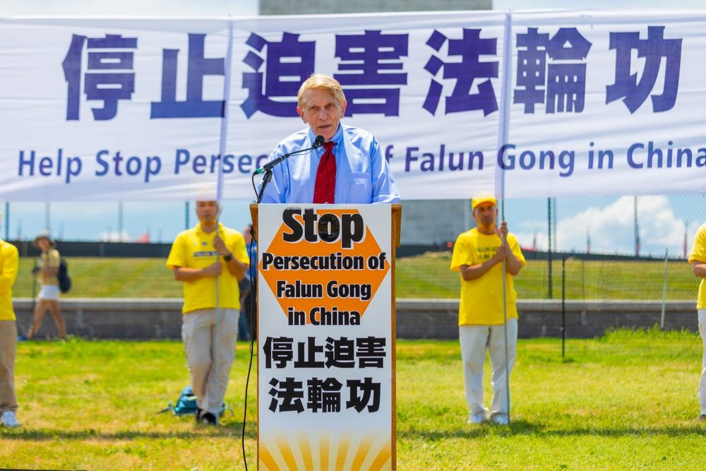 William Murray, chairman of Religious Freedom Coalition , speaking at a rally calling for an end to the persecution of Falun Gong, before the Washington Monument on July 19, 2018. (Mark Zou/ Epoch Times)