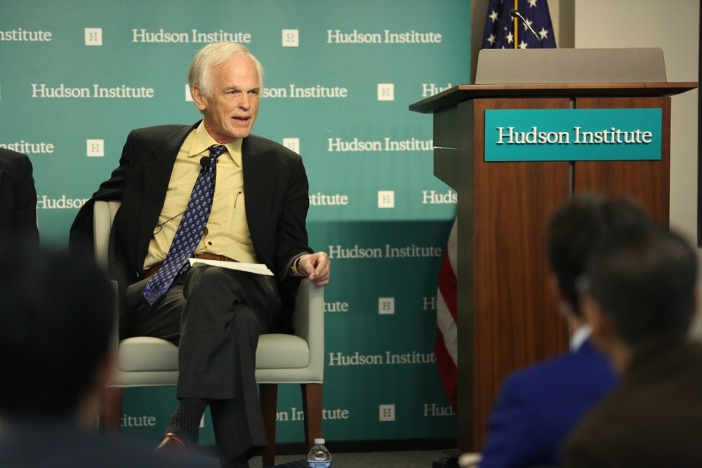 "Perry Link, emeritus professor of East Asian Studies at Princeton University, speaking at the ""Mark Palmer Forum: China's Global Challenge to Democratic Freedom"" at the Hudson Institute in Washington on Oct. 27, 2018. (York Du/NTD)"