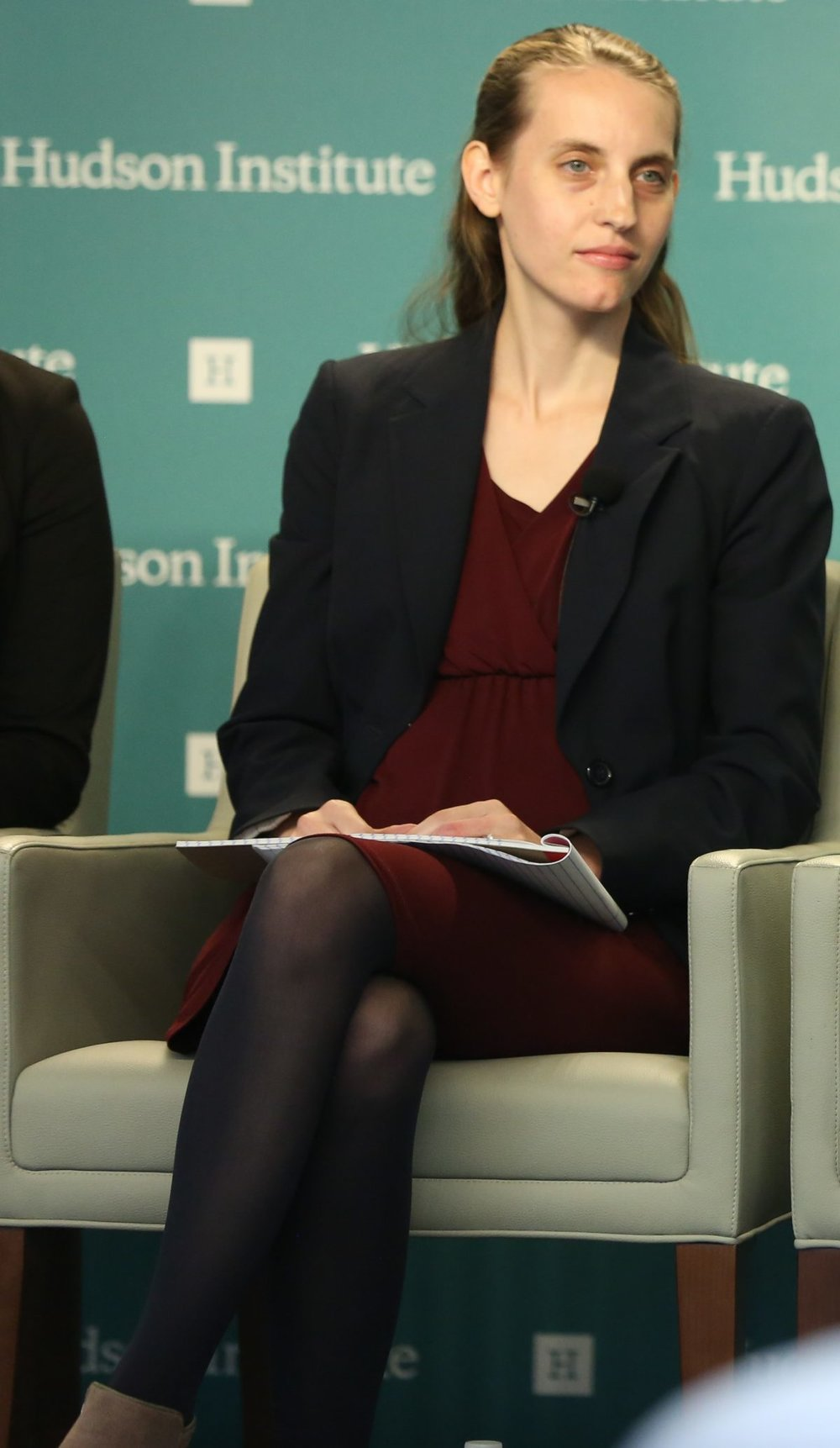 "Rachelle Peterson, policy director at the National Association of Scholars, speaking at the ""Mark Palmer Forum: China's Global Challenge to Democratic Freedom"" at the Hudson Institute in Washington on Oct. 27, 2018. (York Du/NTD)"