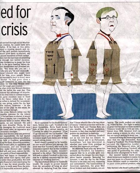 《悉尼晨鋒報》上的政治漫畫。左邊的人物是坦博,他身上的紙箱上寫著「此面朝上」,右邊的人物是陸克文,他身上的紙箱上寫著「易碎品」。
