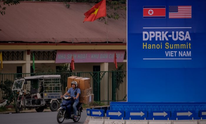 A public signboard welcomes the upcoming summit between U.S. President Donald Trump and North Korean Leader Kim Jong Un, near the U.S. Embassy in Hanoi, Vietnam on Feb. 21, 2019. (Linh Pham/Getty Images)